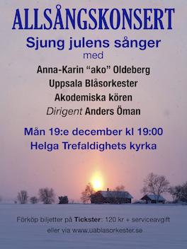 19 december:  Jul-allsångskonsert